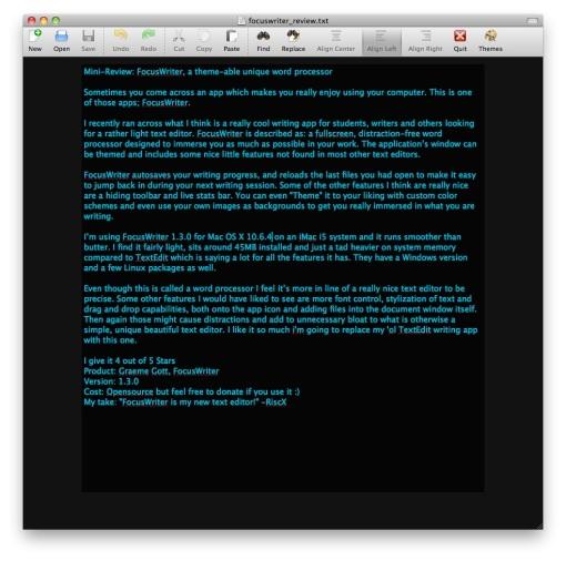 FocusWriter Toolbar
