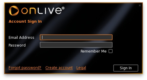 Onlive login screen