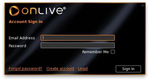 Onlive login screen