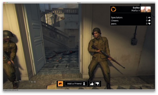 Onlive screen shot in spectator mode watching a gamer playing Mafia II